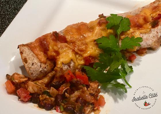Enchiladas au poulet et haricots noirs