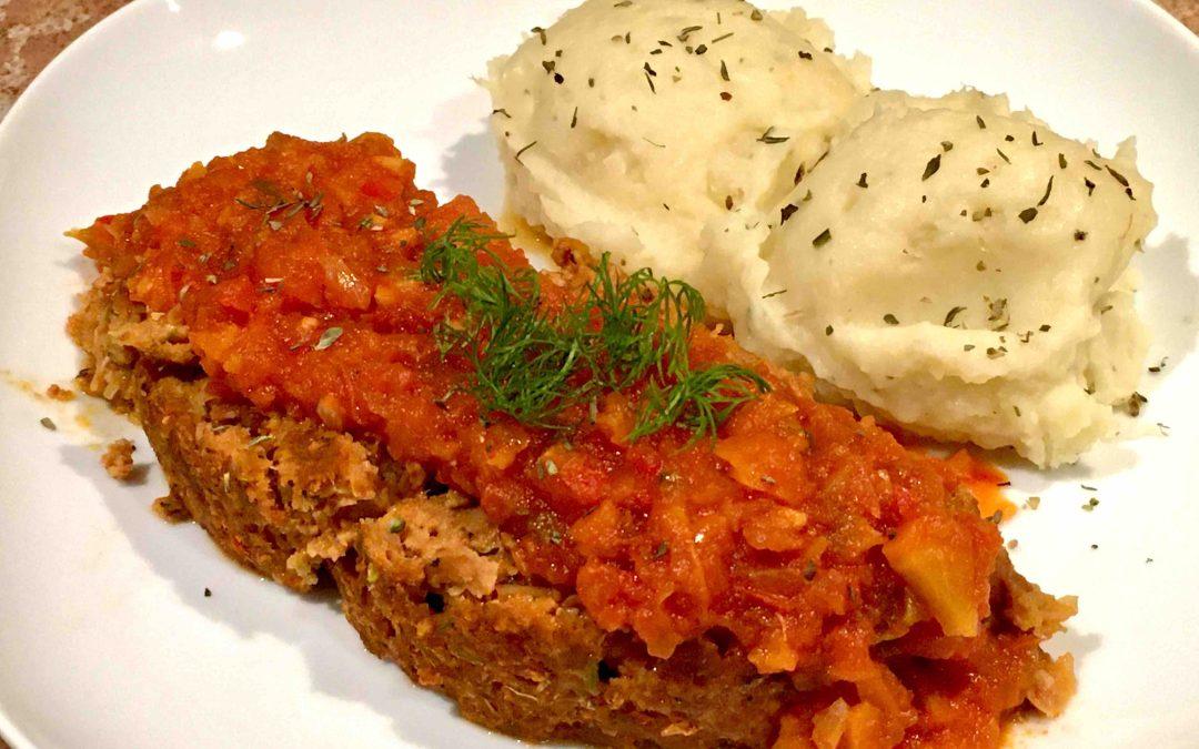 Pain de viande et haricots, sauce aux légumes